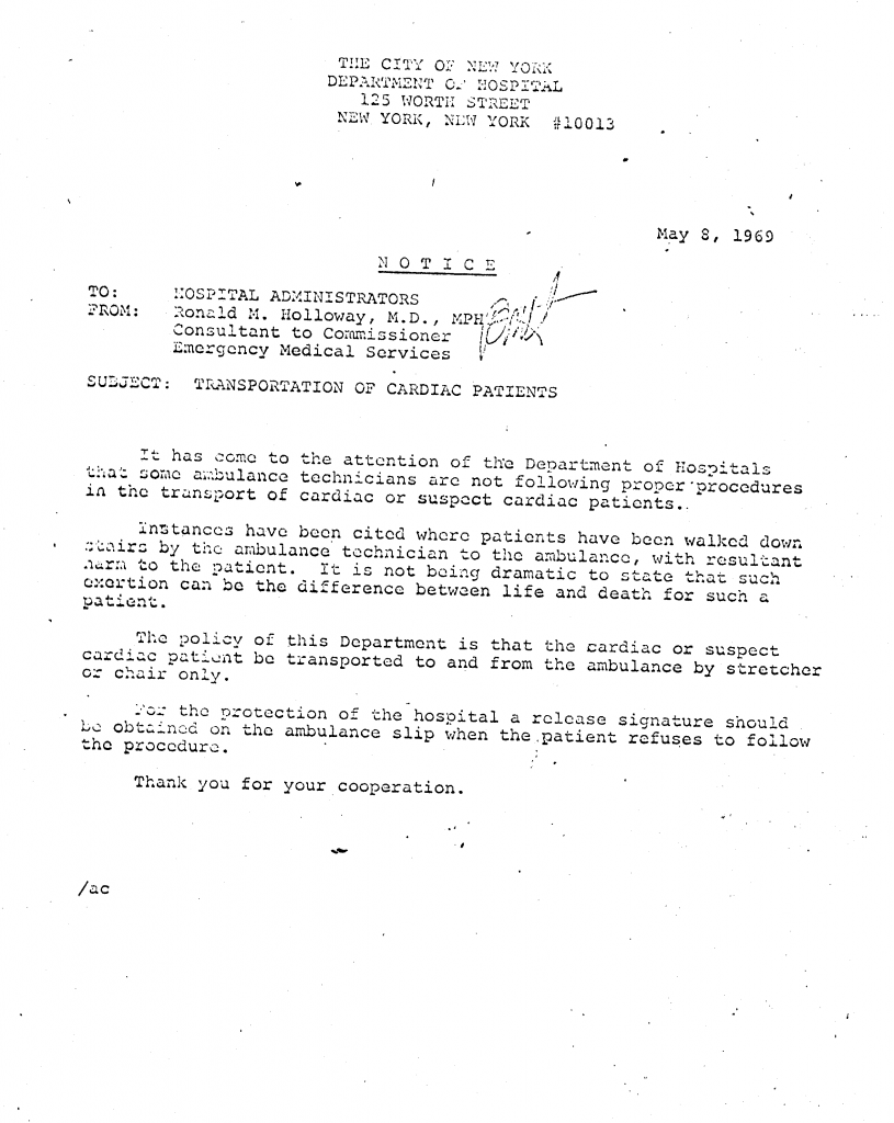 DoH Memo 1969 Do Not Walk Cardiac Pts