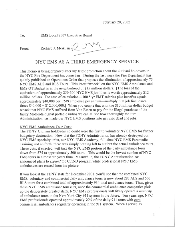 In 2002 McAllan Calls for EMS to be a Third  Emergency Service1