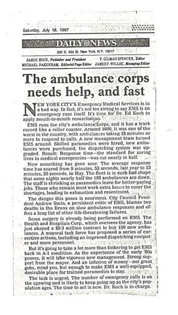 July 18 1987 Ambulance Corps Needs Help
