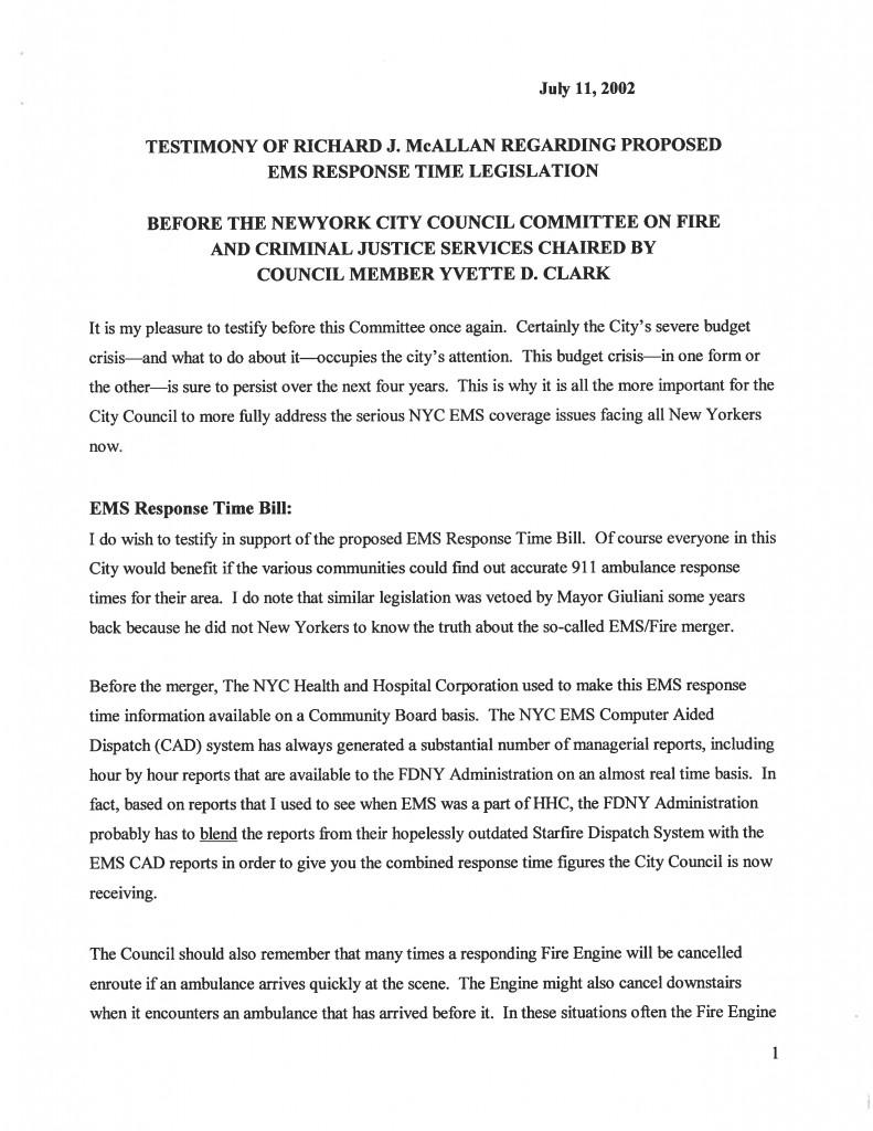 2002TestimonyOnEMSResponseTimeLegislation1