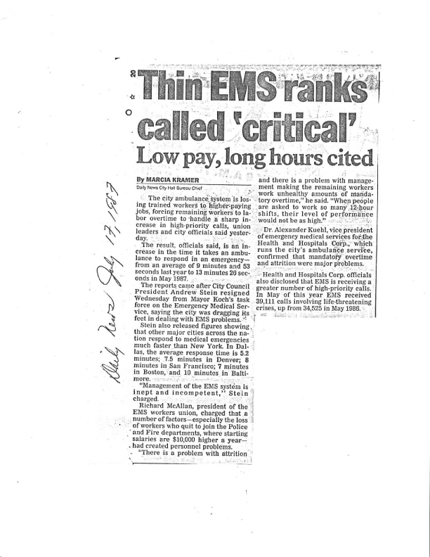 July 17 1987 EMS Ranks Called Critical