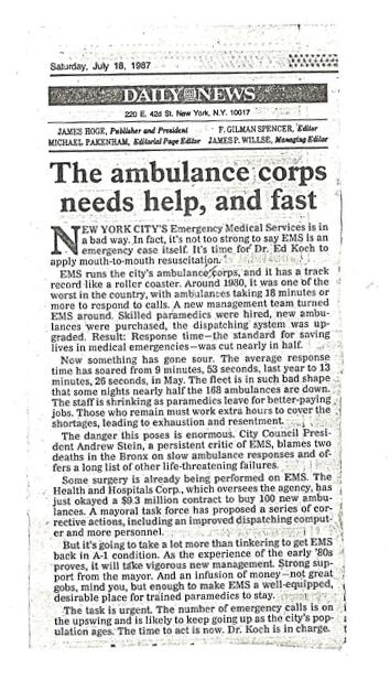 July 18 1987 Ambulance Corps Needs Help