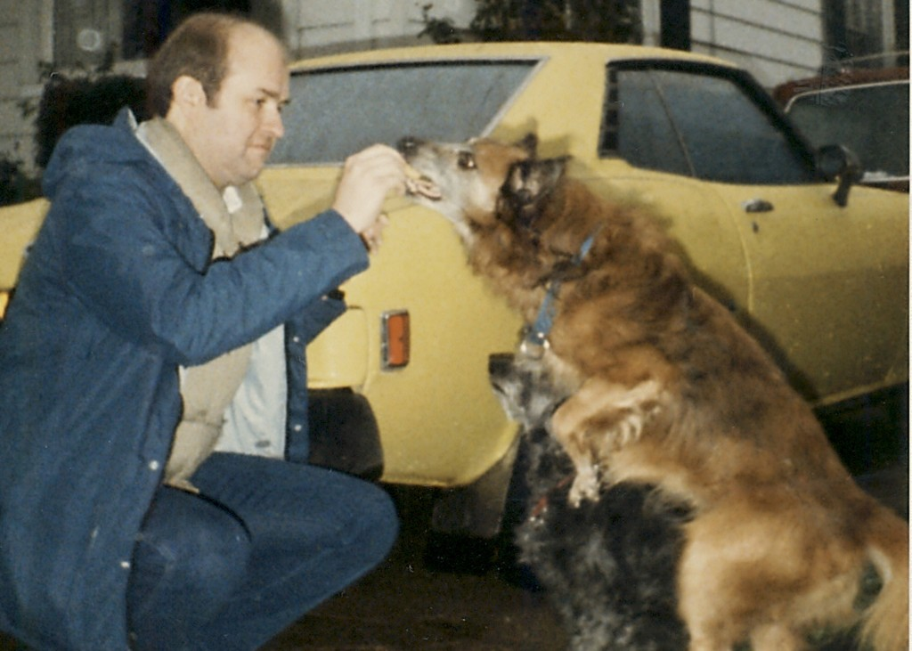 Rich with his dogs Gunilla and Rusty and his Celica